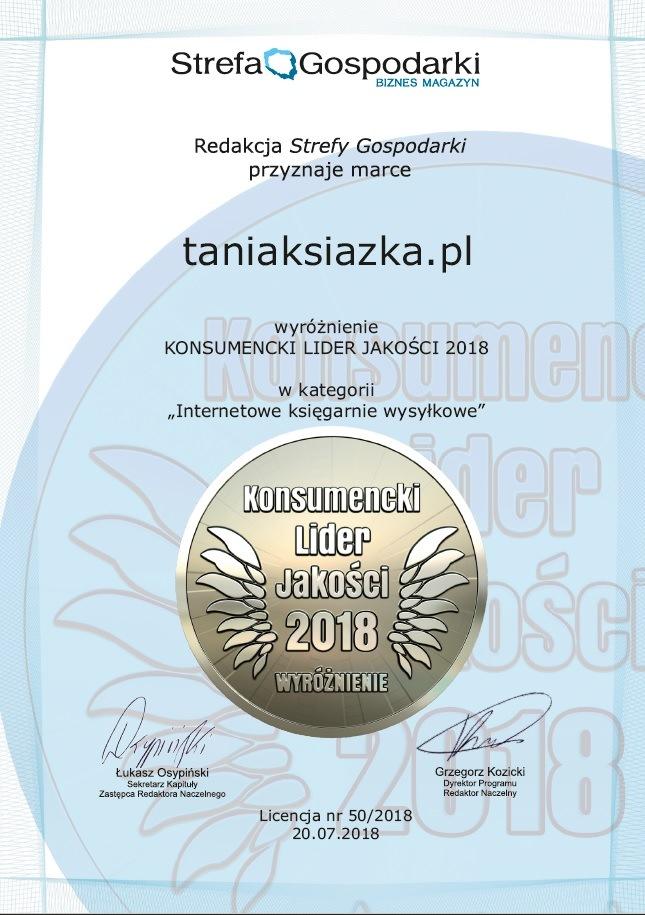 Konsumencki Lider Jakości 2018. Wyróżnienie dla Księgarni TaniaKsiazka.pl