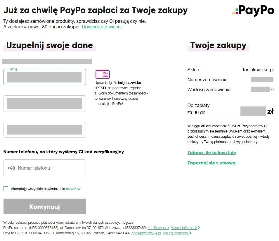 Formularz PayPo