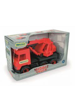 Dźwig czerwony 38 cm Middle Truck w kartonie