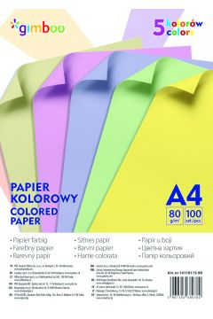 Papier kolorowy Gimboo A4 5 kolorów 100 sztuk