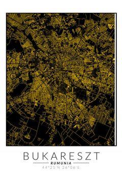 Bukareszt złota mapa - plakat