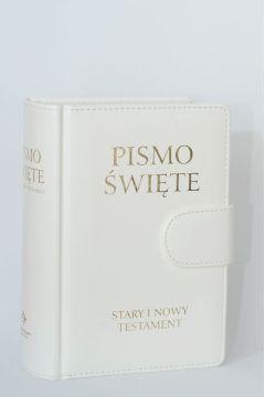 Pismo Święte ST i NT małe białe z zapięciem
