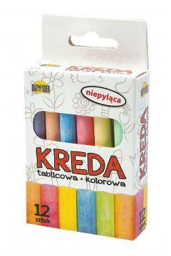 Kreda Dromader tablicowa niepyląca kolorowa 12 sztuk
