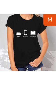 TanioKsiążkowa koszulka damska. Fura + Komóra + Literatura. Czarna. Rozmiar M