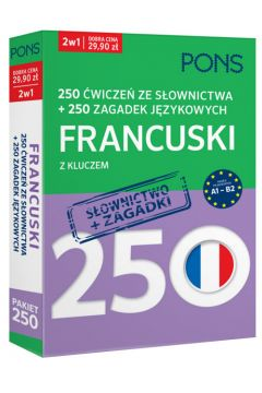 250 ćwiczeń/250 zagadek słownictwo. Francuski 2w1