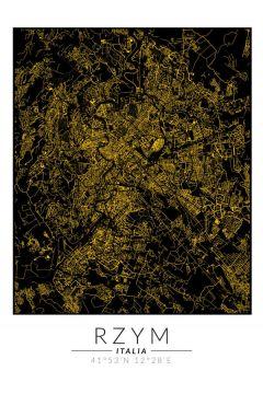 Rzym złota mapa. Plakat