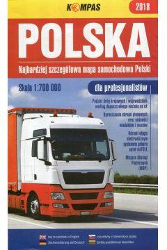 Mapa samochodowa 1:700 000 Polska 2018 dla profes.