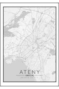Ateny mapa czarno biała - plakat