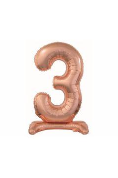 Balon foliowy B&C Cyfra stojąca 3, różowo-złota, 74 cm