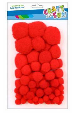 Pompony dekoracyjne czerwone  mix CRAFT WITH FUN 463927