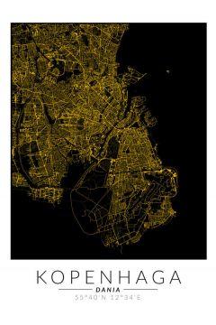 Kopenhaga złota mapa - plakat