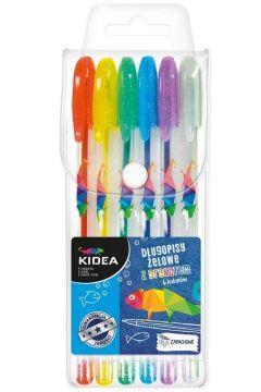 Długopisy żelowe z brokatem 6 kolorów KIDEA
