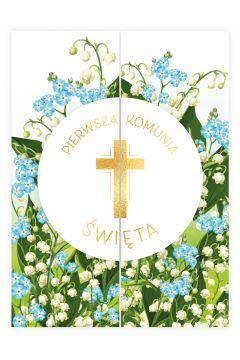 Karnet B6 Komunia rozkładany krzyż