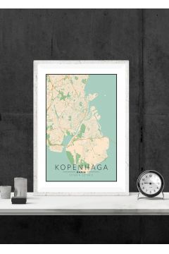Kopenhaga mapa kolorowa - plakat