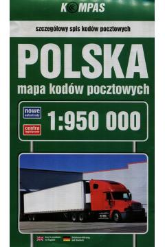 Polska mapa kodów pocztowych 1:950 000 wyd. 2016