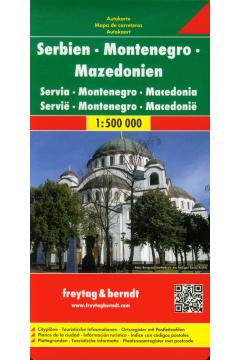 Mapa - Serbia, Czarnogóra, Kosowo, Macedonia