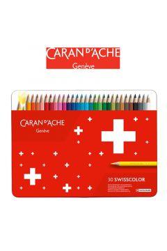 Kredki ołówkowe CARAN DACHE Swisscolor 30 kolorów metalowe pudełko