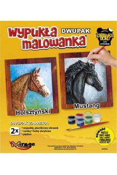 Wypukła malowanka Konie - Holsztyński + Mustang