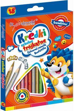 Kredki ołówkowe trójkątne 18 kolorów BAMBINO