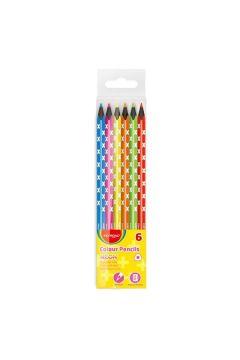 Kredki Keyroad ołówkowe trójkątne czarne drewno neon 6 kolorów
