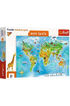 Puzzle edukacyjne 104 el. Mapa świata dla dzieci