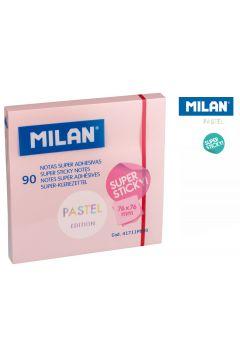 Karteczki samoprzylepne różowe Milan super sticky pastel 76 x 76, 90 sztuk