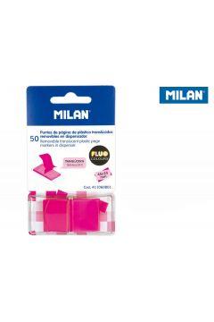Indeksy transparentne Milan FLUO róż 45 x 25 mm, 50 szt.