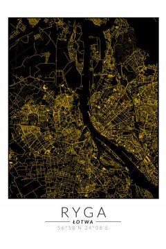 Ryga złota mapa. Plakat