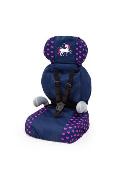 Bayer Fotelik samochodowy dla lalki Deluxe Car Seat granatowy Jednorożec 67554AA