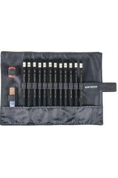 Zestaw ołówków w czarnym piórniku 8B-2H 12 sztuk