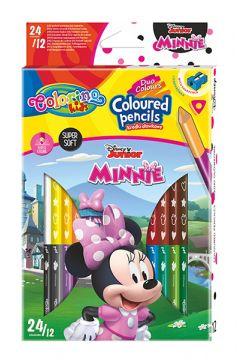 Kredki ołówkowe trójkątne Colorino Kids 24 kolorów 12 sztuk z temperówką Minnie