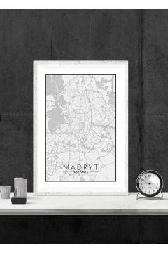 Madryt mapa czarno biała - plakat