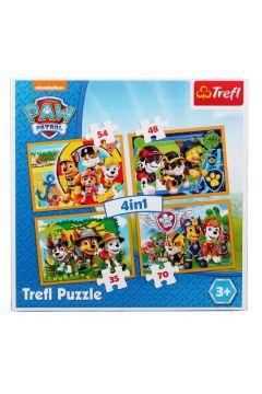 Puzzle 4w1 Zawsze na czas Psi Patrol 34307