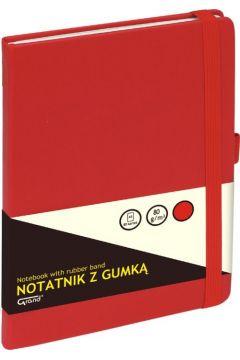 Notatnik A5/80K kratka z gumką czerwony GRAND