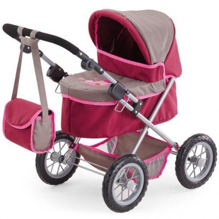 Bayer Wózek głęboki dla lalki różowo-szary 13078AA