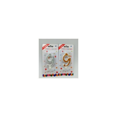 Świeczki urodzinowe Cyferki 9 brokat Srebne 1420029 L&H