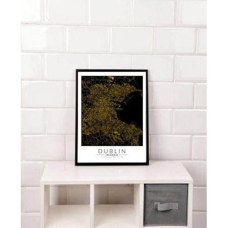 Dublin złota mapa. Plakat