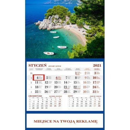Kalendarz 2021 Ścienny Jednodzielny Plaża