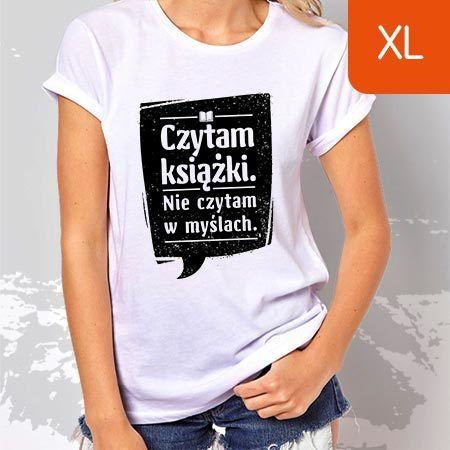 TanioKsiążkowa koszulka damska. Czytam książki. Nie czytam w myślach. Biała. Rozmiar XL