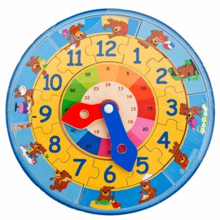 Zabawka edukacyjna drewniana Zegar 30x30 BRIMAREX 130693