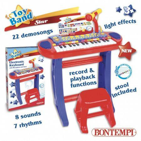 Organy elektroniczne z mikrofonem, statywem oraz stołkiem