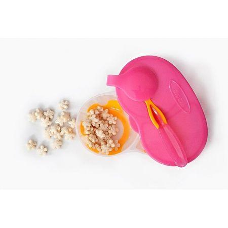Pojemnik podwójny na żywność pomarańczowo-różowy