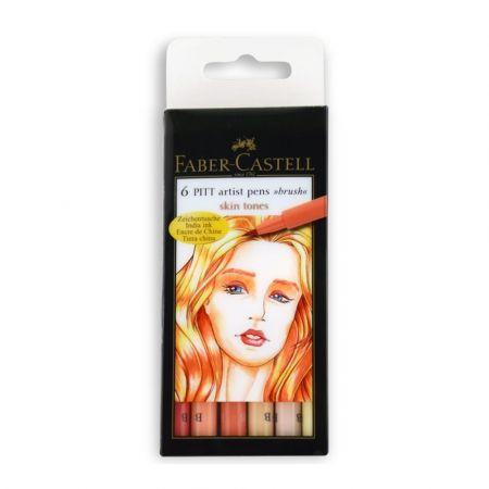 Pisaki Pitt Artist Pen Skin 6 kolorów FABER CASTEL