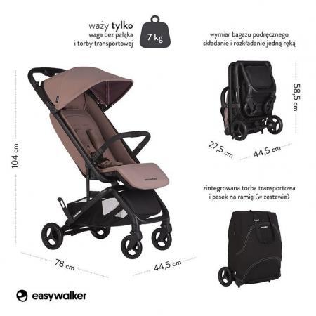 Easywalker Miley Kompaktowy wózek spacerowy ze zintegrowaną torbą transportową Desert Pink