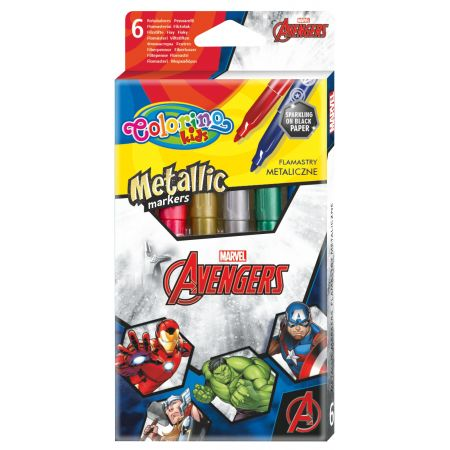 Flamastry metaliczne Colorino Kids 6 kolorów Avengers