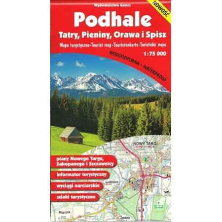"""Mapa """"Podhale, Tatry, Pieniny, Orawa i Spisz"""" - foliowana"""