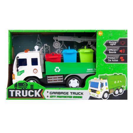 Auto ciężarowe śmieciarka światło dźwięk 28x17x10 MC
