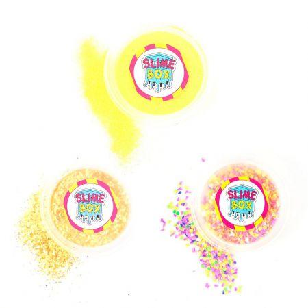 Brokaty zestaw nr 6 - 3 kolory  (złoty jednorożec/słoneczko/fluo żółty)