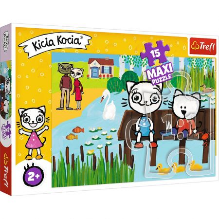 Puzzle 15 maxi Kicia Kocia nad jeziorem TREFL