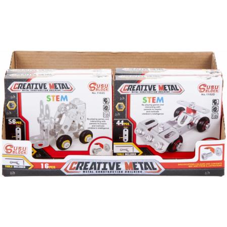 Klocki konstrukcyjne metalowe 30-56 elementów MEGA  CREATIVE 463054
